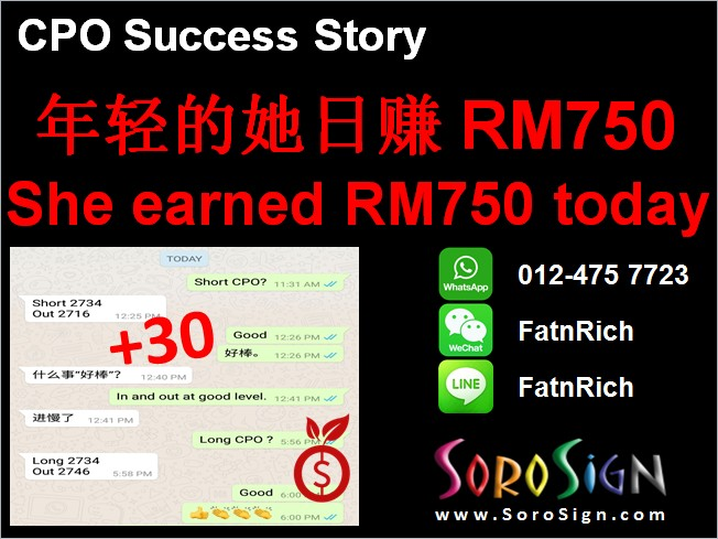 She earned RM750 today