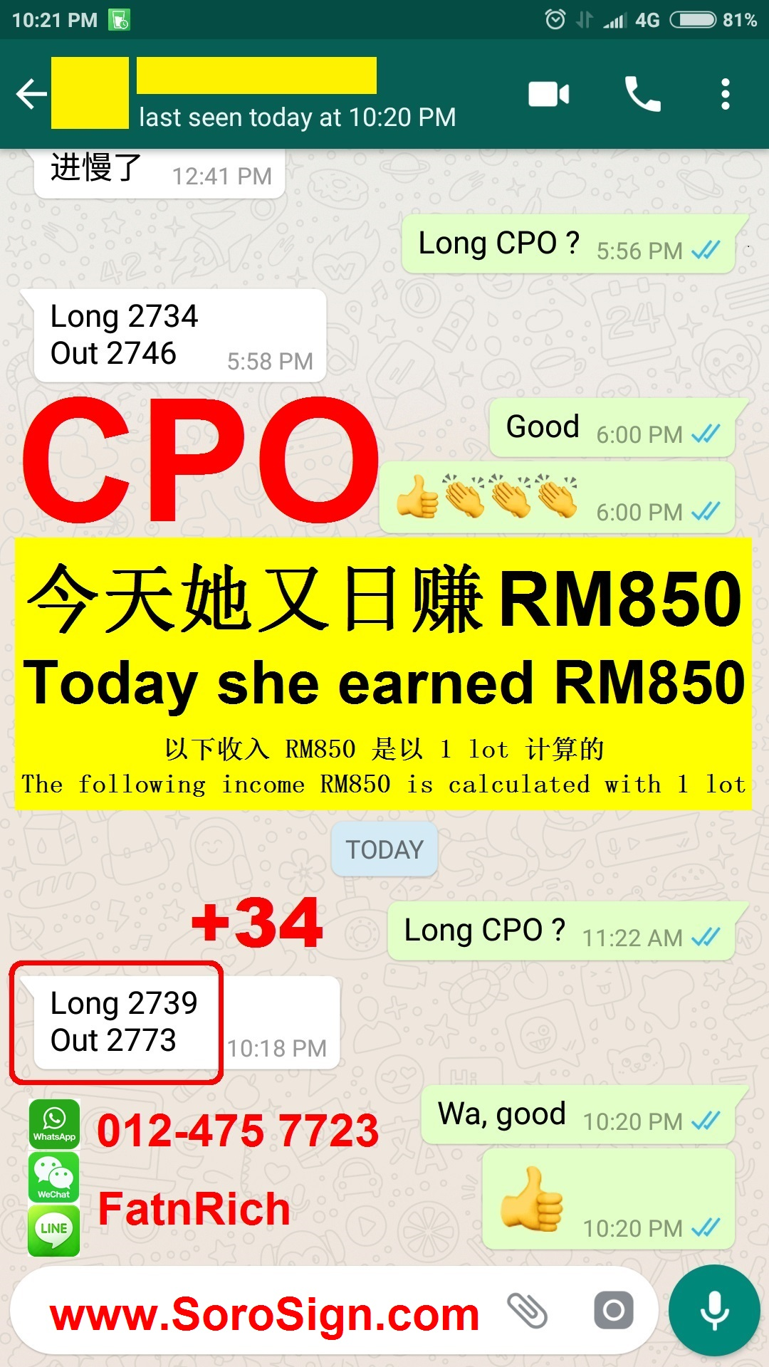 She earned RM850 today